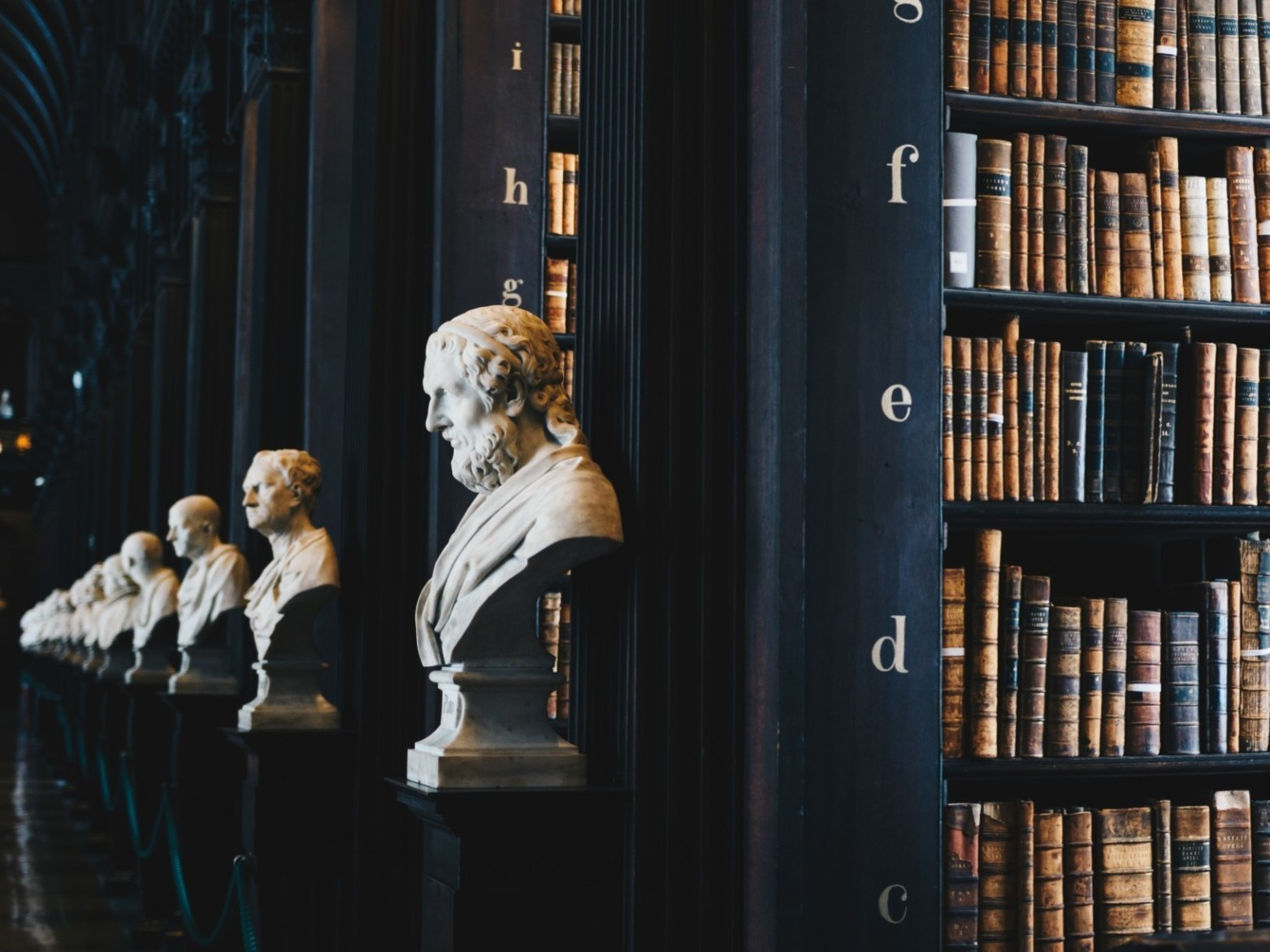busts of notable scholars